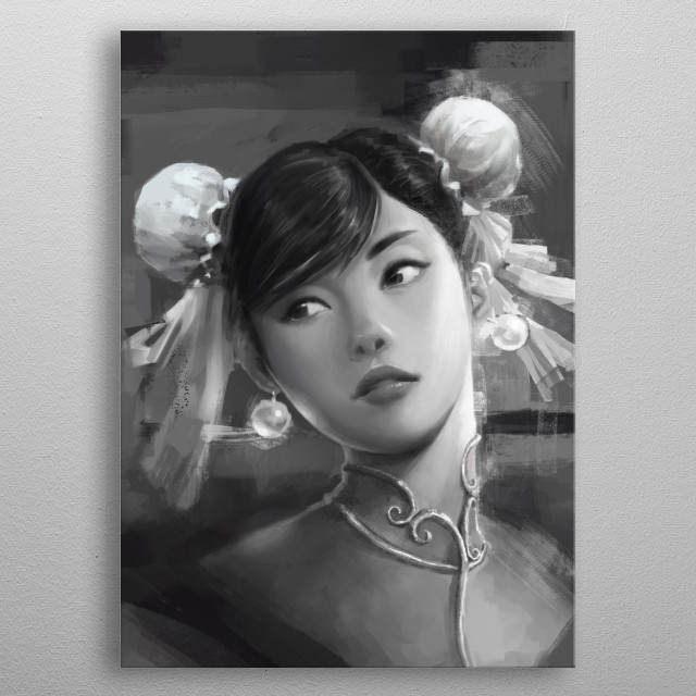 Chun Li is a character in the famous fighting game, she is portrayed portrayed honestly and beautifully metal poster