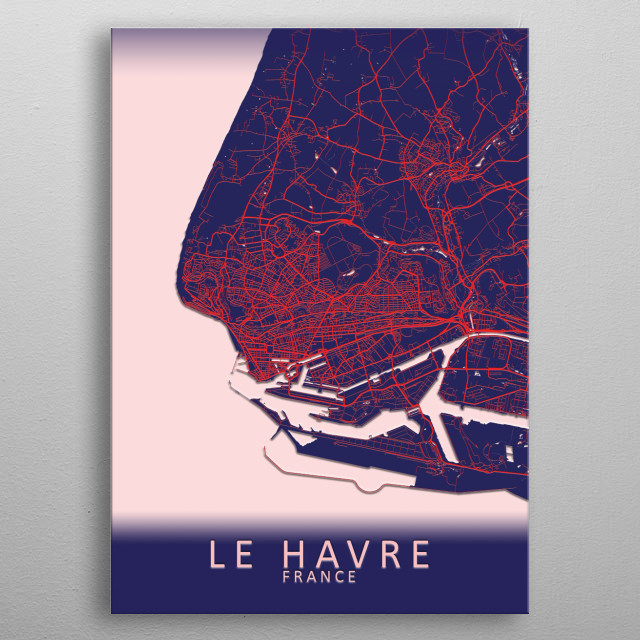 Le Havre France City Map metal poster