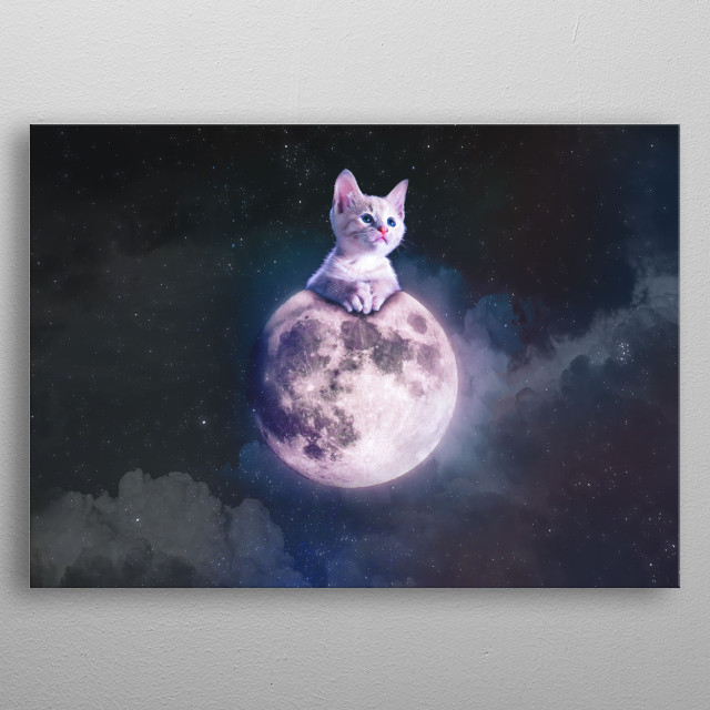A small cute kitten getting ready to nap on the moon, far above the stars, peering into the galaxy ahead metal poster