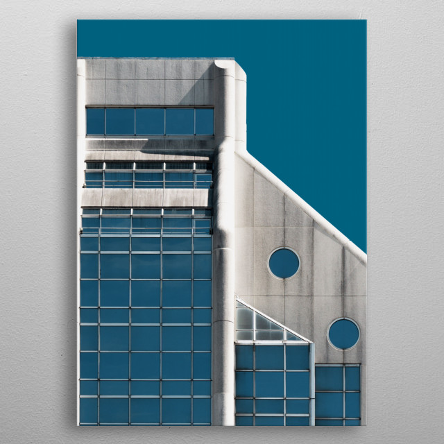 Architectural photograph of building that visually blends with the sky metal poster