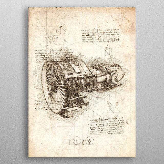 Sketch of a Jet Engine metal poster