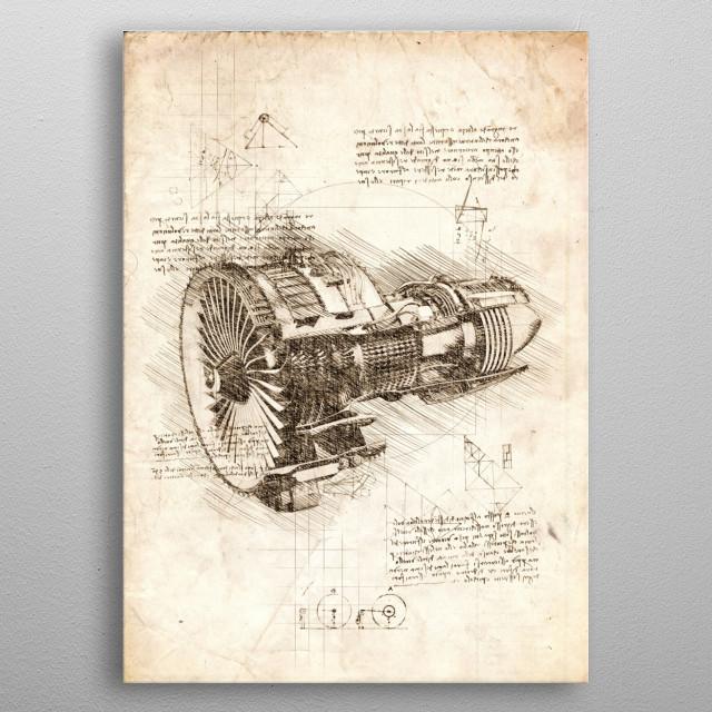 Sketch of a Jet Engine metal poster