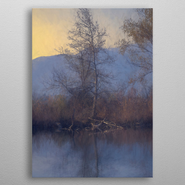 color and reflection on lake metal poster