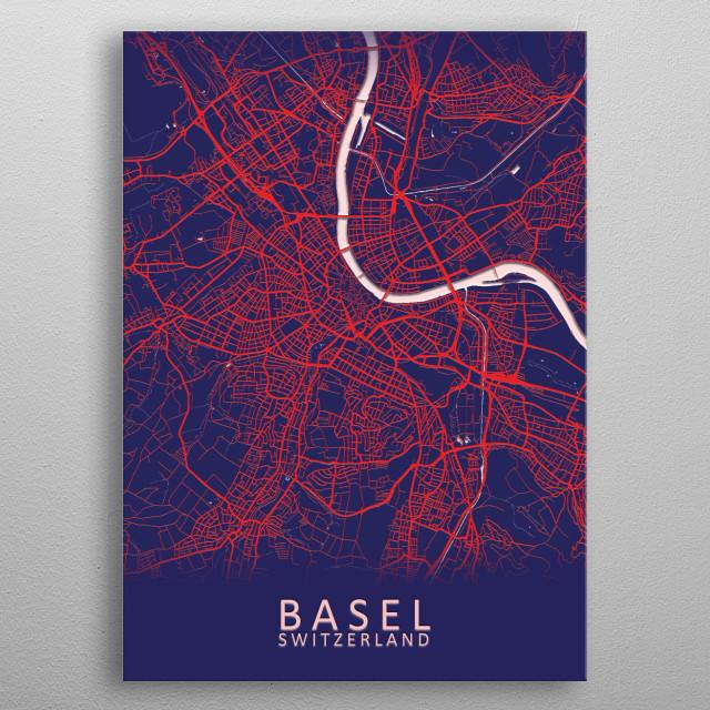 Basel Switzerland City Map metal poster