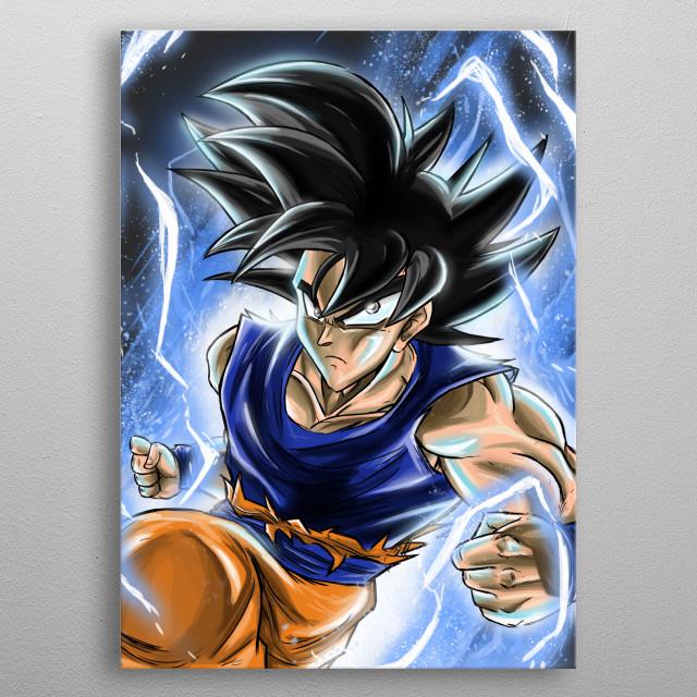 A digital illustration of Goku in Ultra instinct form! (Dragon ball)  metal poster