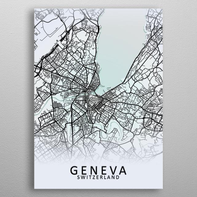 Geneva Switzerland Map metal poster