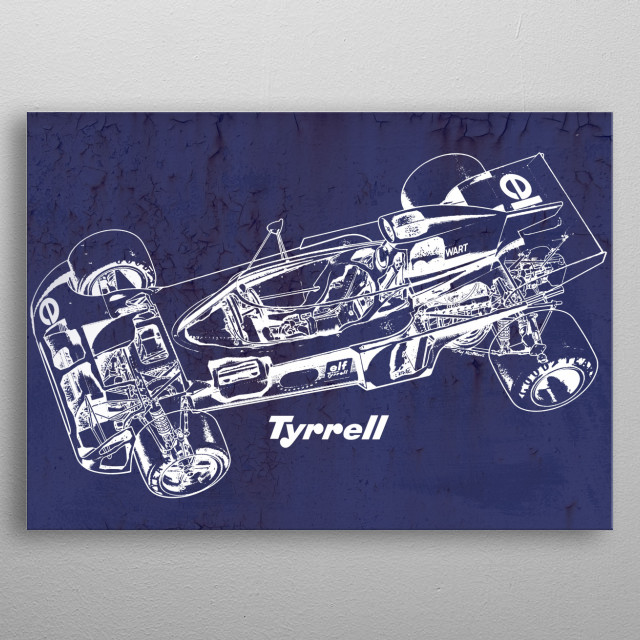 Vintage Jackie Stewart Tyrrell Cutout F1 Classic Cars - Tyrrell 006 F1Life Collection Original Artwork by MagRacing  metal poster