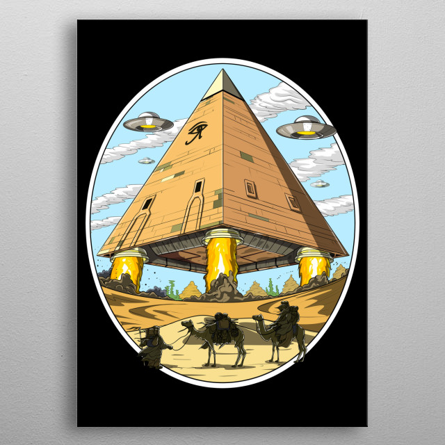 This Egyptian Pyramids Aliens metal poster makes a perfect gift for any science fiction lover. metal poster