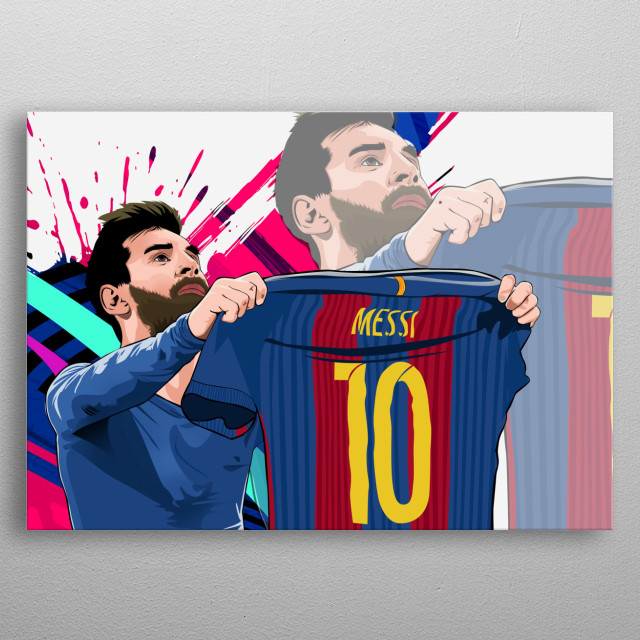 this is a vector art made by photoshop cs6. being a huge fan of messi my art helped me to show my love towards him and the team.thanks alots metal poster