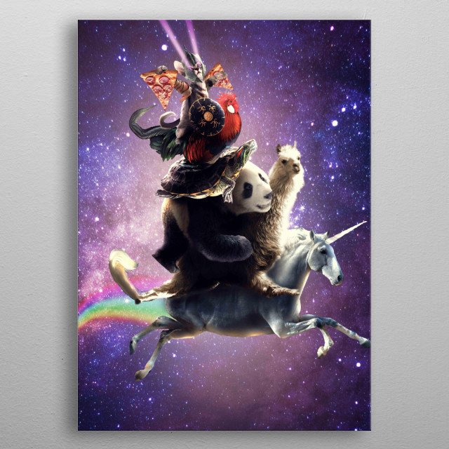 Pick up this epic funny outer space design. This funky rainbow galaxy design features a warrior kitty cat with laser eyes eating pizza.  metal poster