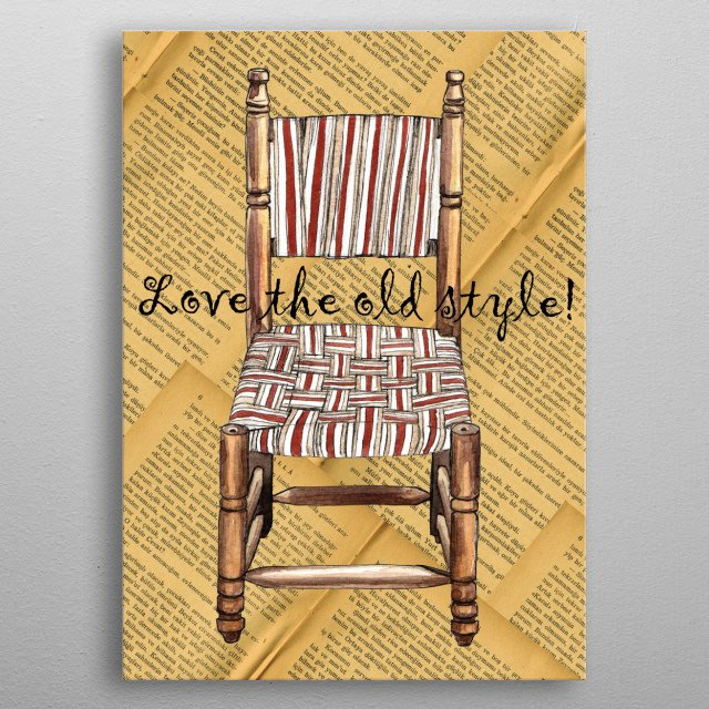 Collage of watercolor painting of an old style wooden chair in Gaziantep, Turkey. Background is also some pages of an old turkish book. metal poster