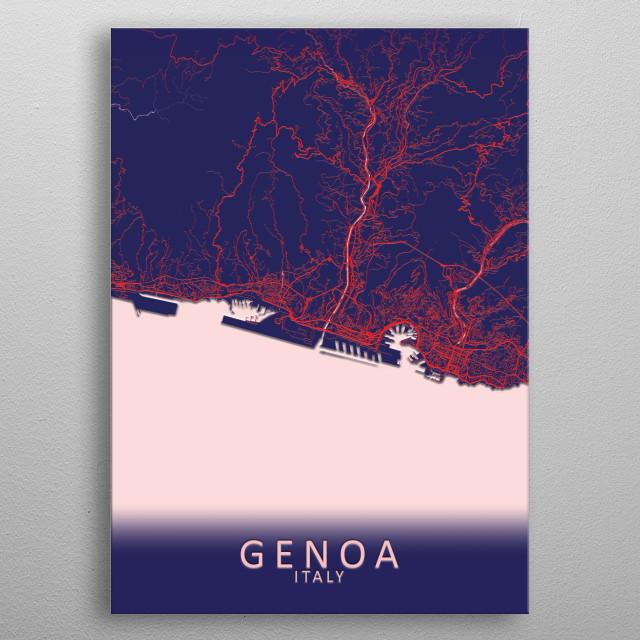 Genoa Italy City Map metal poster