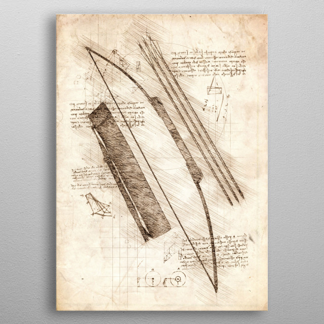 Sketch of a Bow and Arrow metal poster