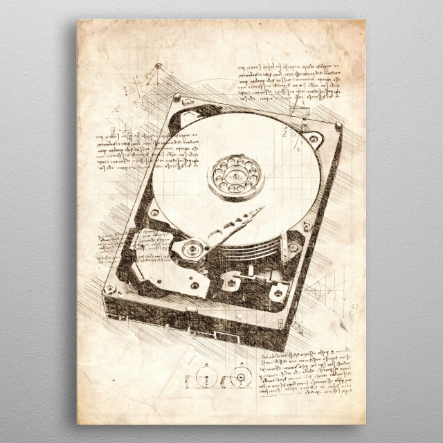 Sketch of a Hard Disk Drive metal poster