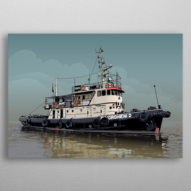 An illustration of a tugboat metal poster