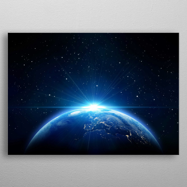 A photography of the Earth from the space in high quality 5K. metal poster