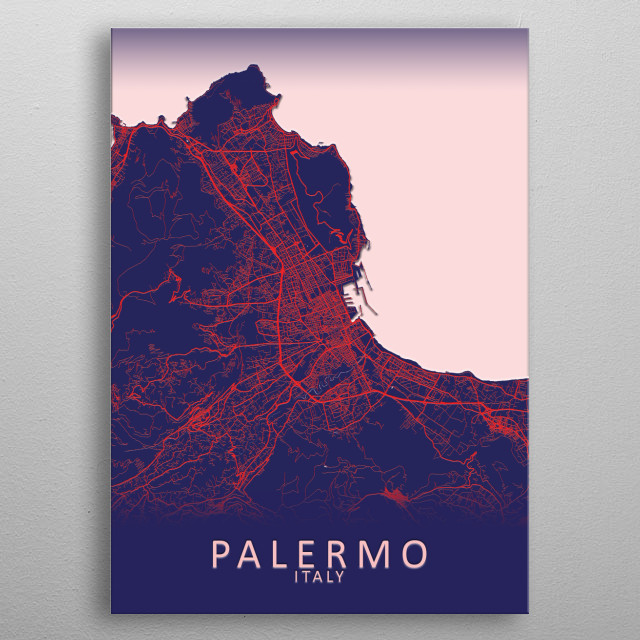 Palermo Italy City Map metal poster