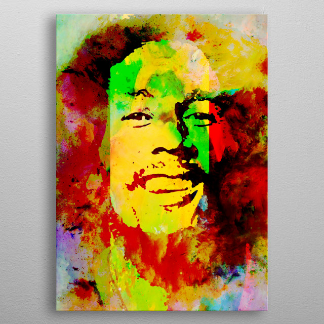 Art inspired by the life and work of Bob Marley metal poster