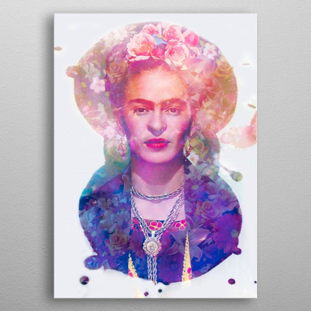 Art inspired by the life and work of Frida Kahlo metal poster