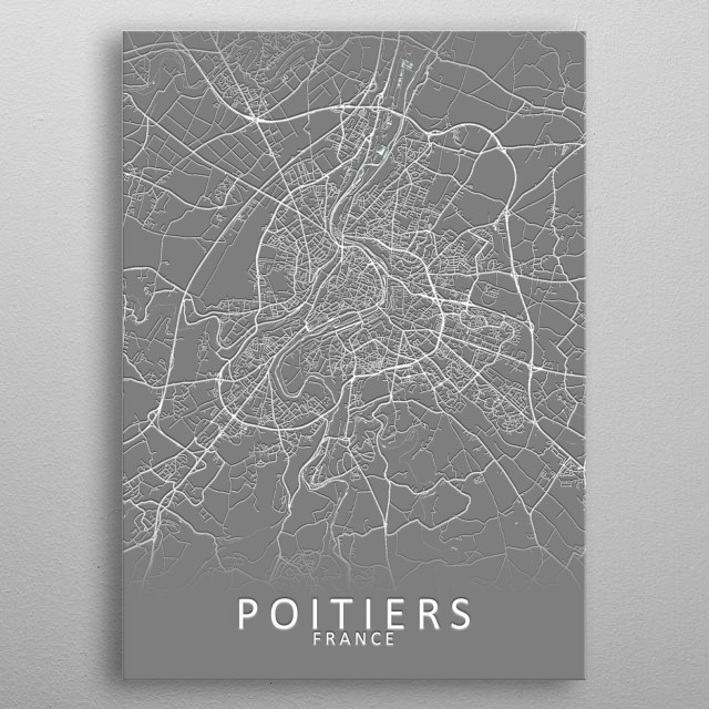 Poitiers France City Map metal poster