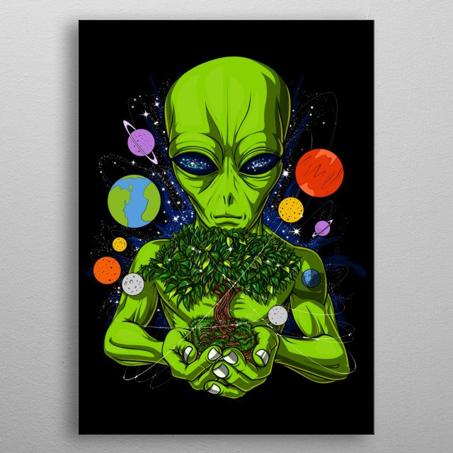 This Space Alien UFO God metal poster makes a perfect gift for any science fiction lover. metal poster