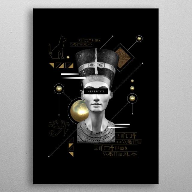 Abstract Nefertiti metal poster