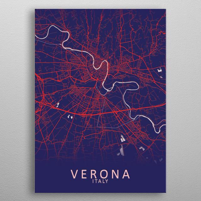 Verona Italy City Map metal poster