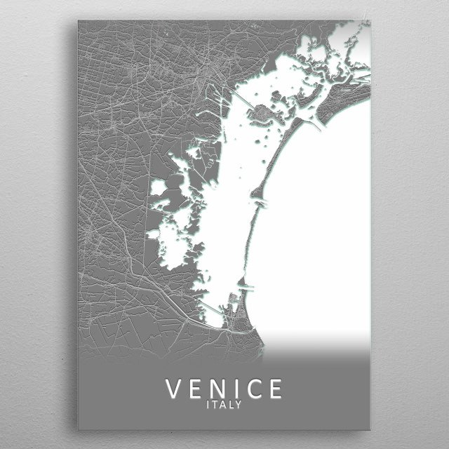 Venice Italy City Map metal poster