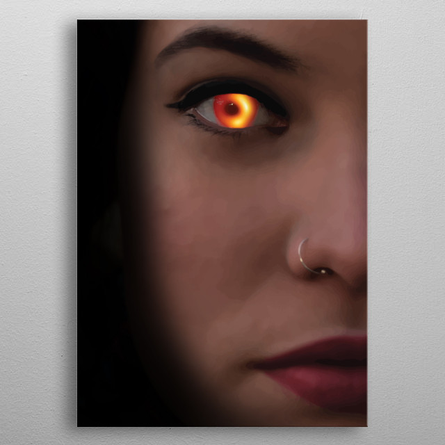 Black hole in her eye  Photography taked with Nikon D3100 manipulated with PSD.   metal poster