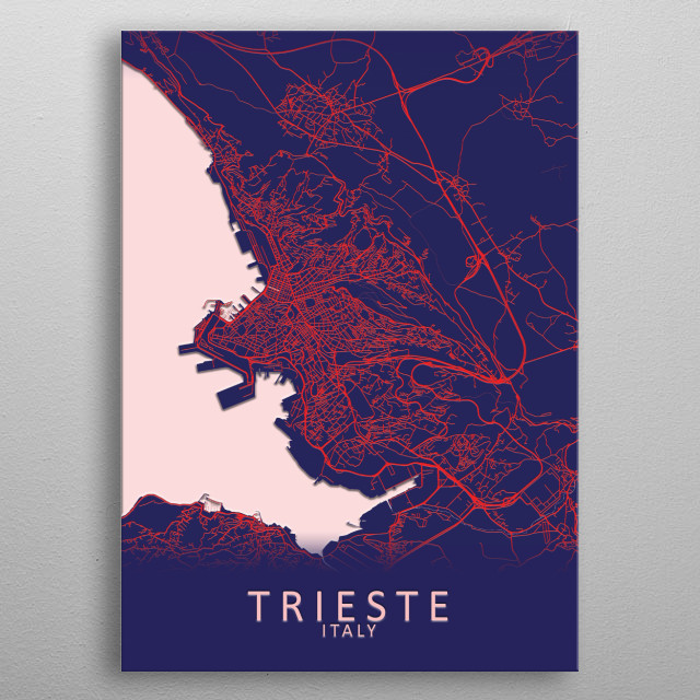 Trieste Italy City Map metal poster