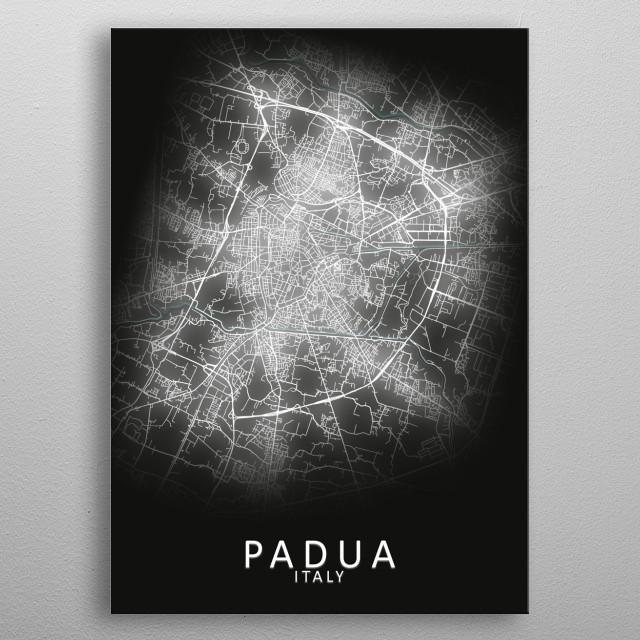 Padua Italy City Map metal poster