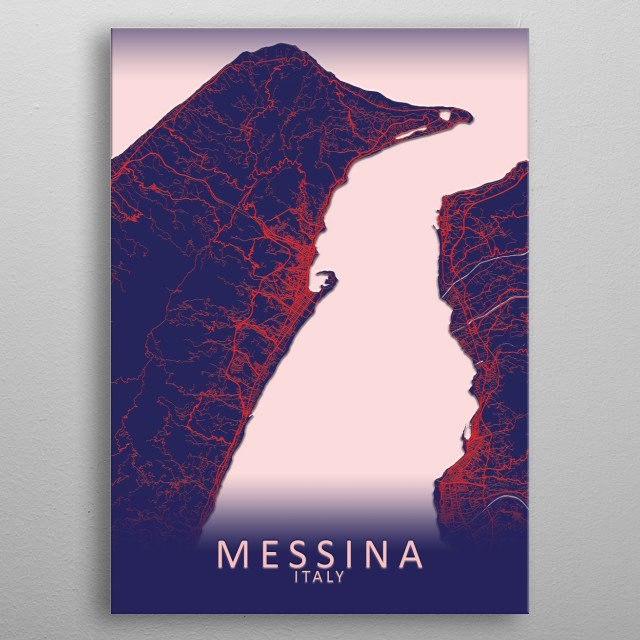 Messina Italy City Map metal poster