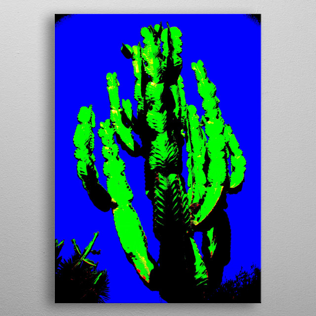 A pop art version of a tall cactus with many arms. metal poster