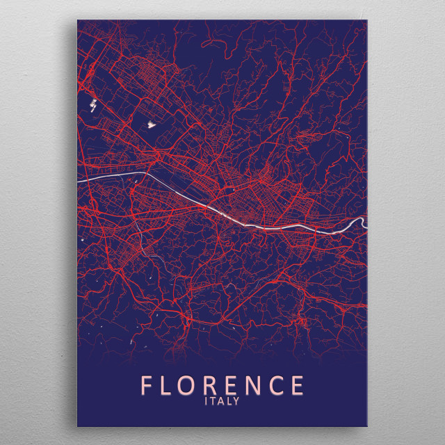 Florence Italy City Map metal poster