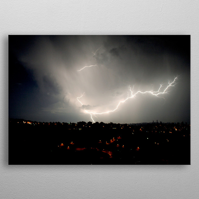 It is He who makes the lightning flash upon you, inspiring you with fear and hope, and gathers up the heavy clouds.  metal poster