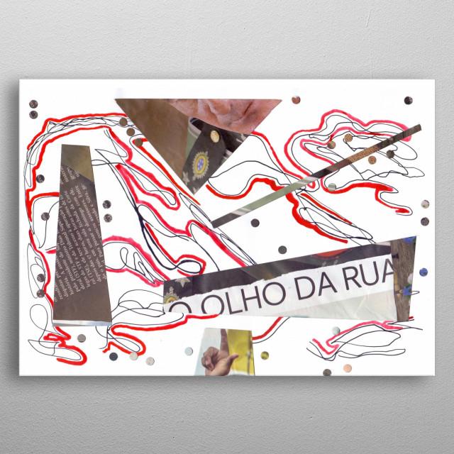Neo Expressionismo Abstrato Nanquim, tinta vermelha para desenho e colagem s/ papel 21 x 29,7 cm 2018 Mauricio Duarte (Divyam Anuragi) metal poster
