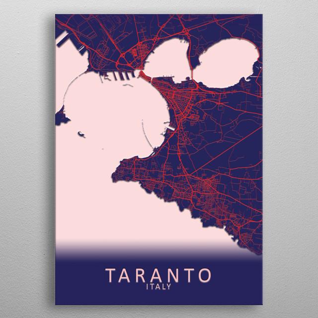 Taranto Italy City Map metal poster