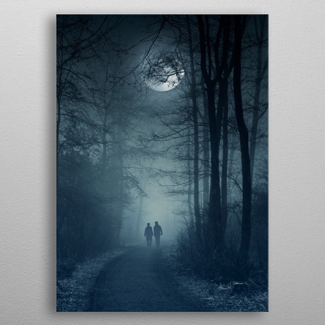 A couple taking a stroll under a full moon on a misty night metal poster