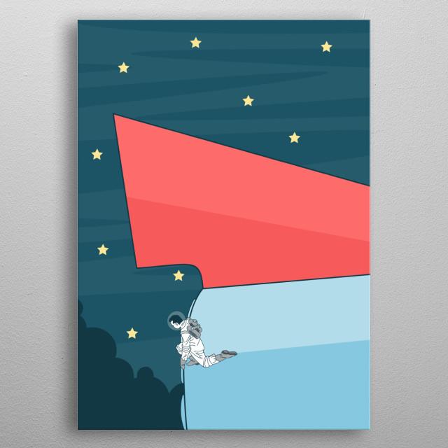 Space Ship Vector Art metal poster