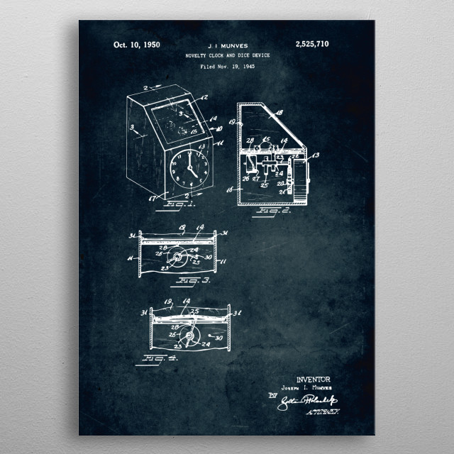 No478 Novelty clock and dice device  - Patent art metal poster