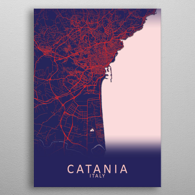 Catania Italy City Map metal poster