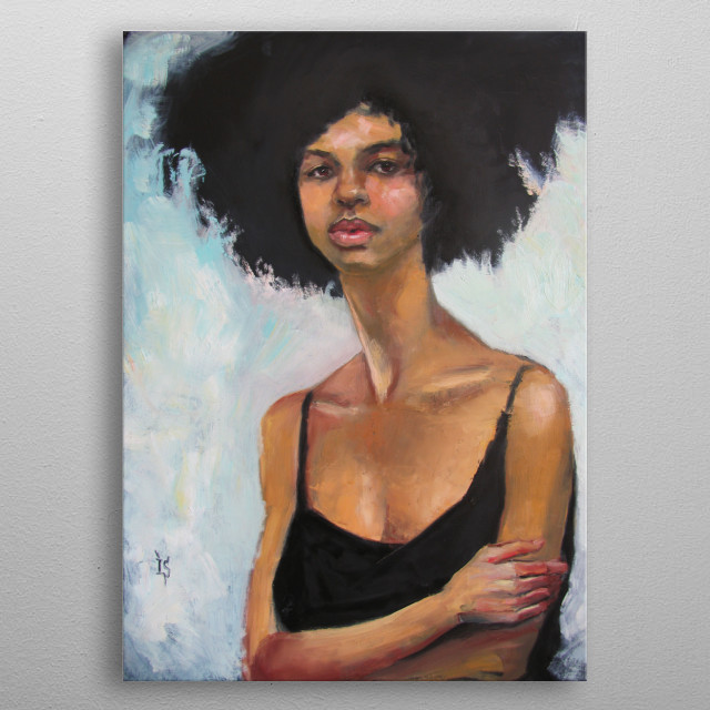 Stylish portrait of young girl with afro hair, original artwork, oil on canvas metal poster