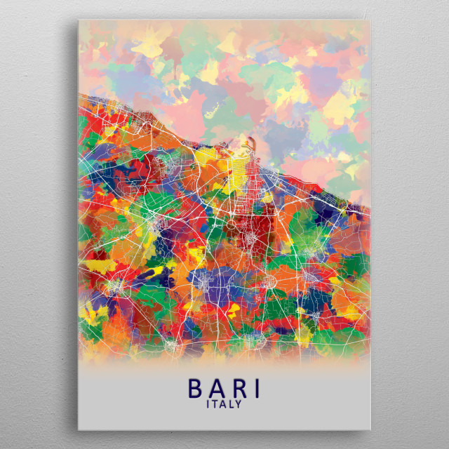 Bari Italy City Map metal poster