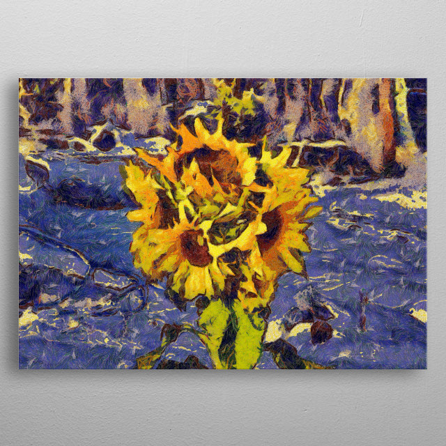 Painting with five sunflowers on a blue background metal poster