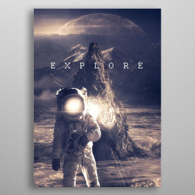 Space themed art. metal poster