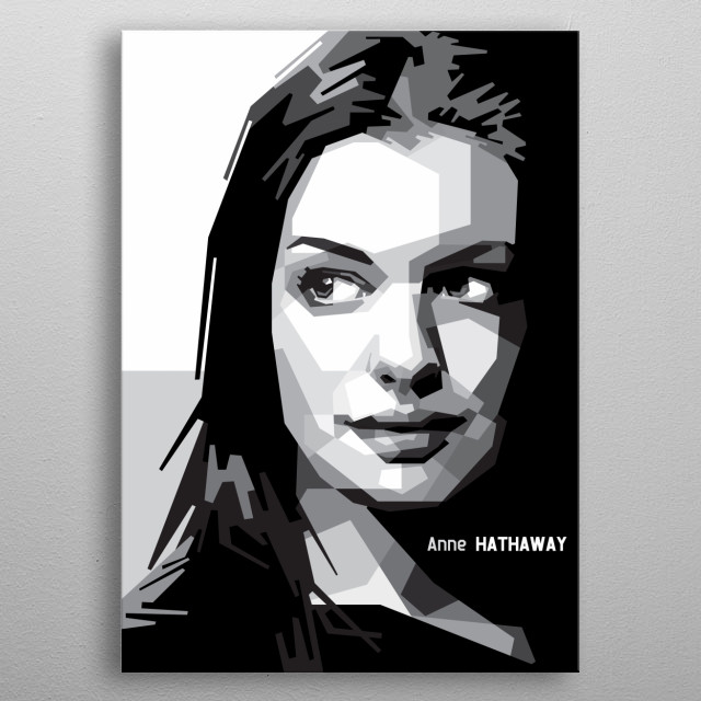Portrait of Anne Hathaway. metal poster