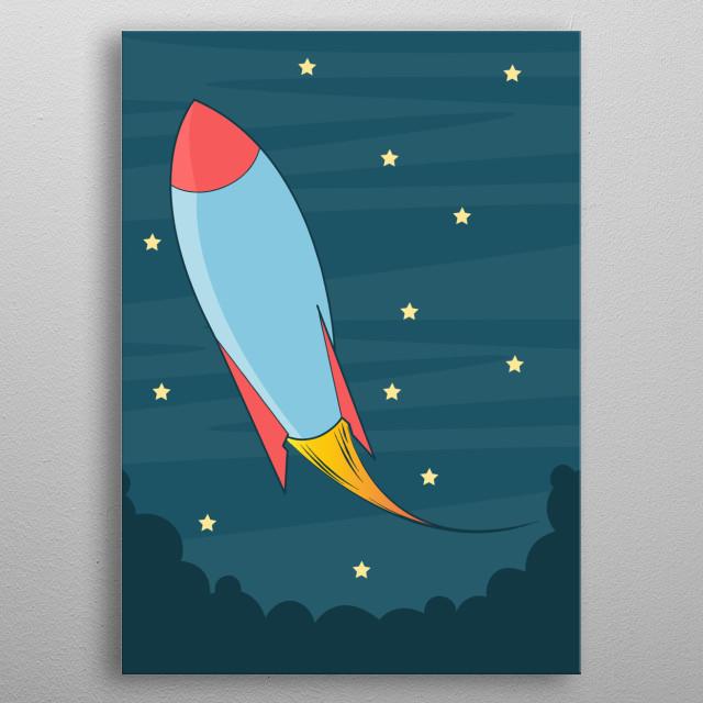 Rocket Vector Art metal poster