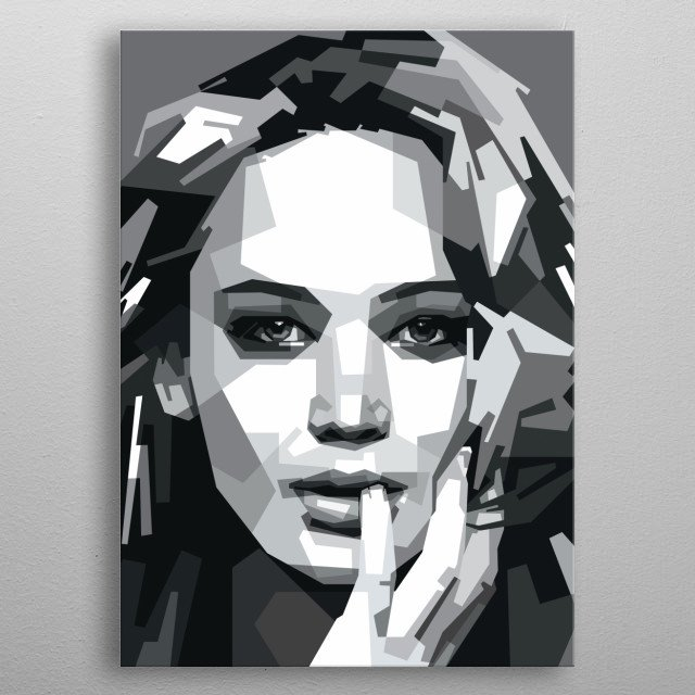 Portrait of Jennifer Lawrence. metal poster