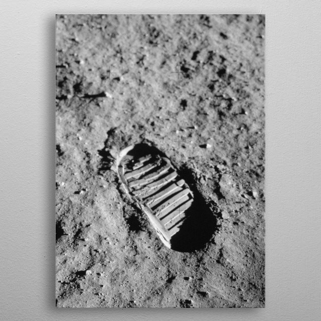 Iconic Image of the Apollo Moon Mission. Copyright by NASA. metal poster