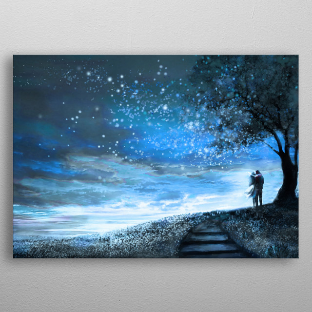 Fantasy illustration with night sky and Milky Way, stars. woman and man under an tree looking at the space landscape. Painting metal poster